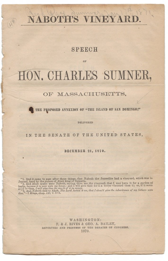 Collection of 5 U.S. Senate Pamphlets: Annexation, 1870 - 4