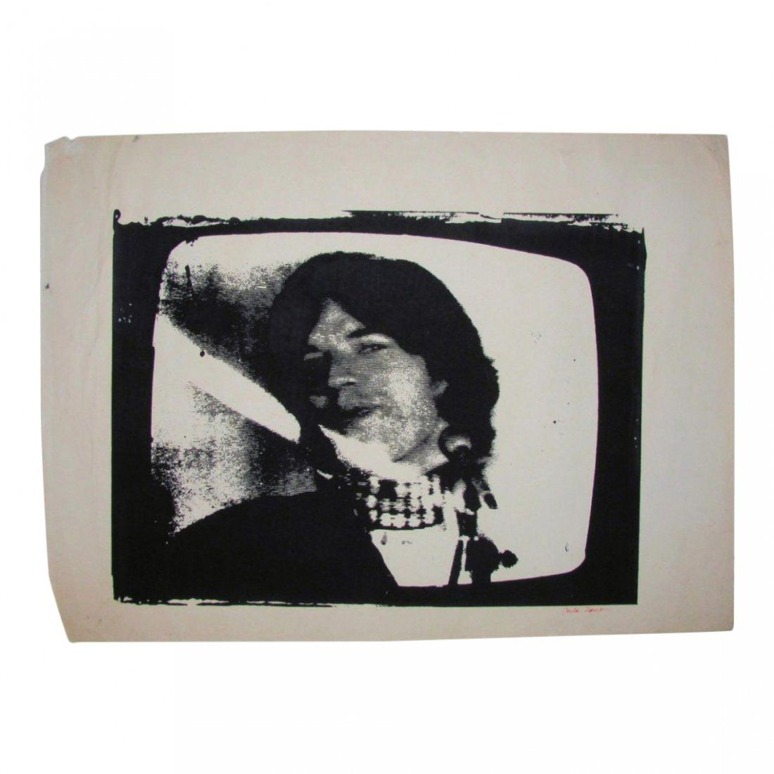 Vintage Screen Print Poster of Mick Jagger, 1980