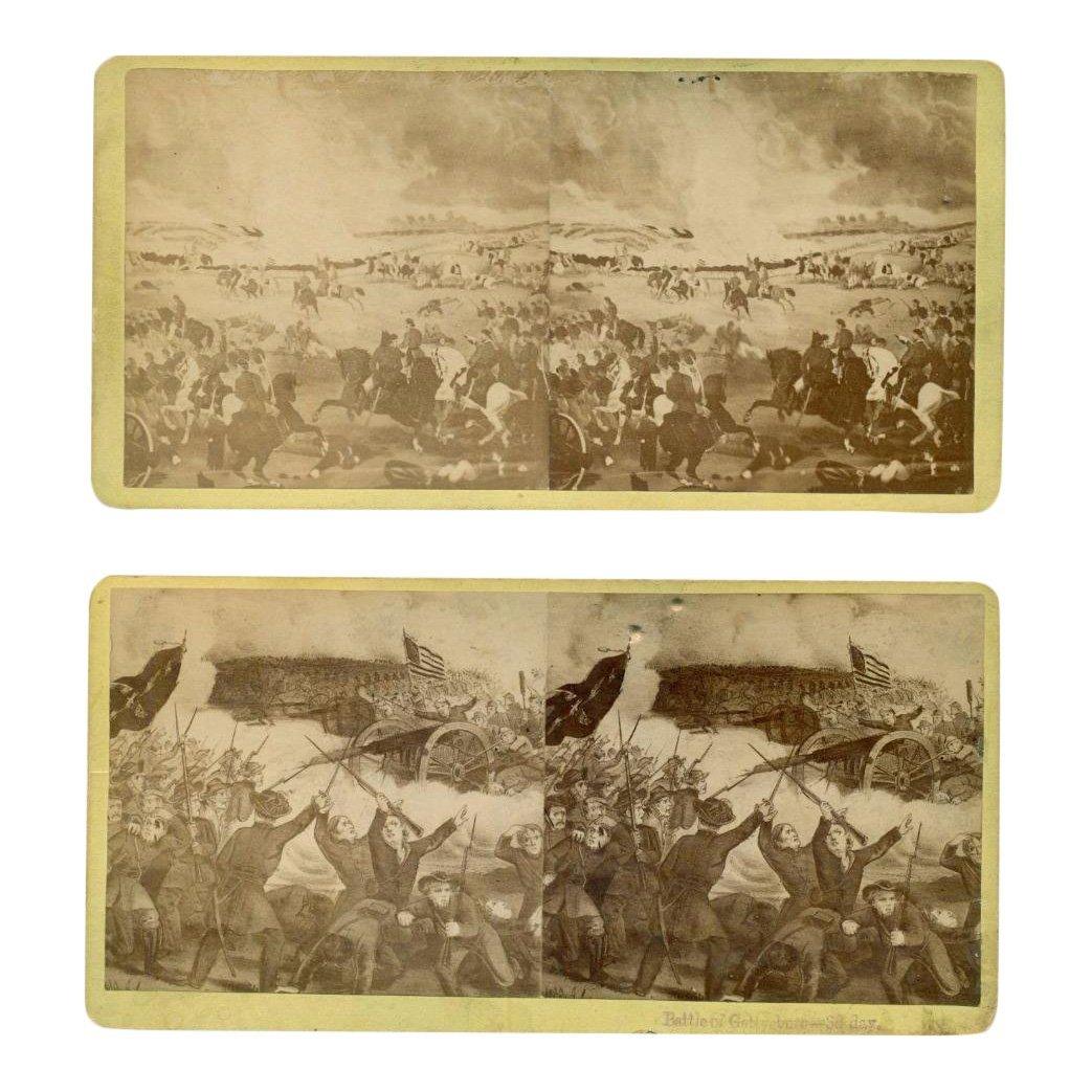 Lot of 2 Civil War Gettysburg Stereoviews, 1870