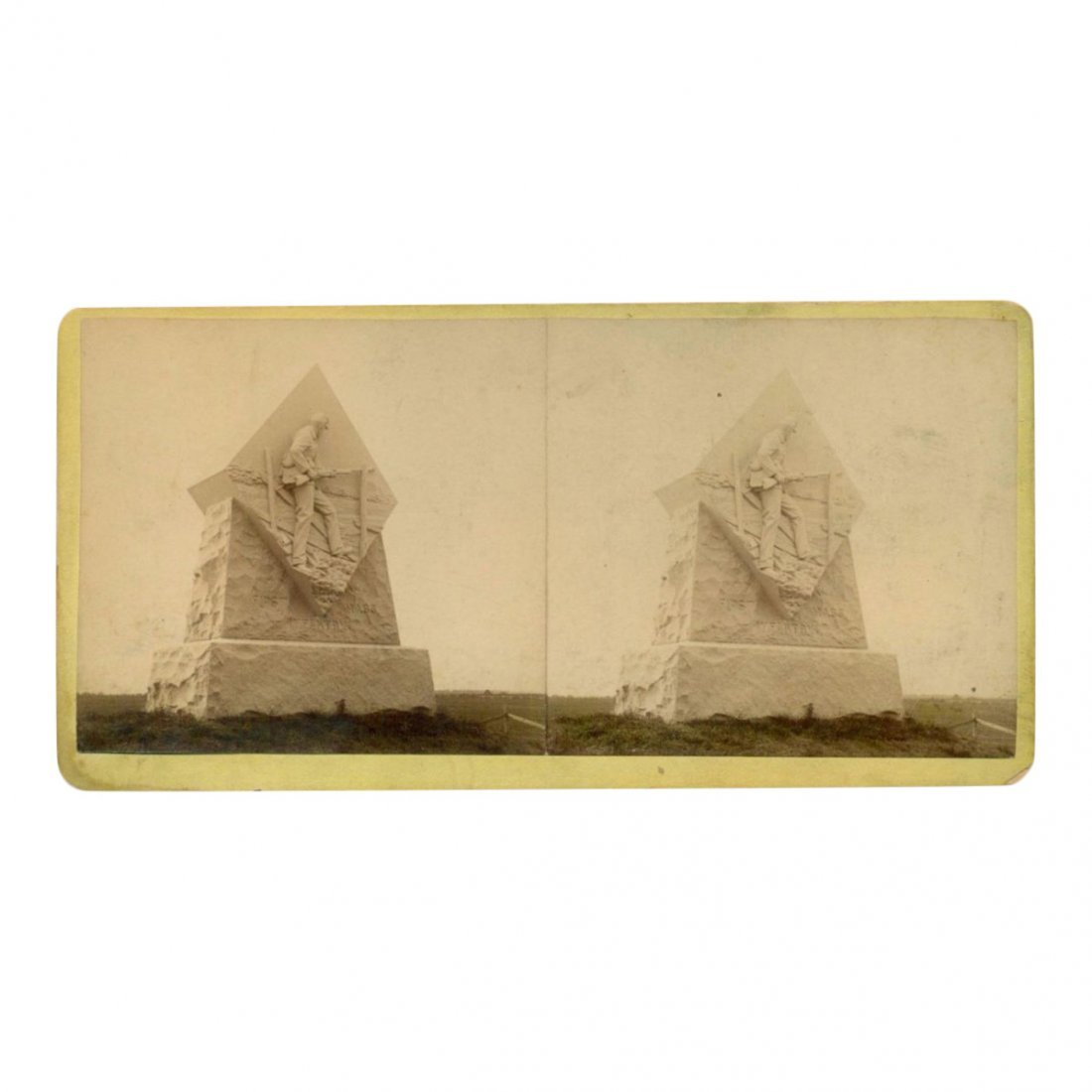 Civil War Stereoview: Monument to MA Infantry, 1886