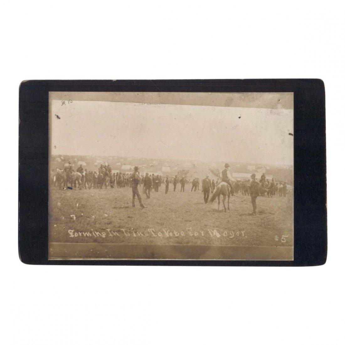 Oklahoma Land Rush Camp Cabinet Card Photograph, 1889