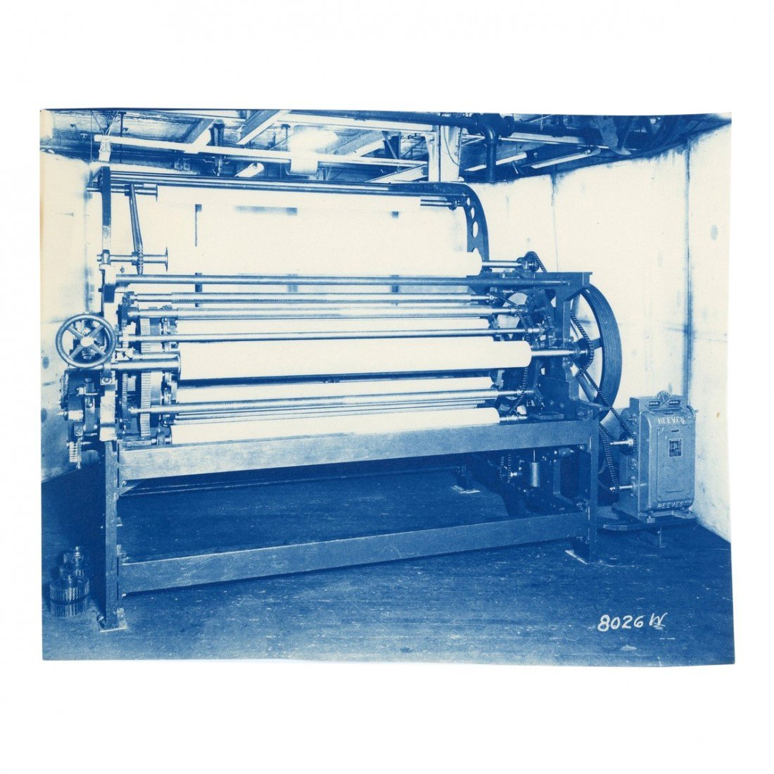 Lot of 5 Cyanotype Photos of Textile Machinery