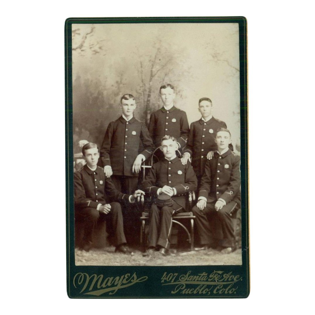 Men with Badges Cabinet Card Photograph, 1890