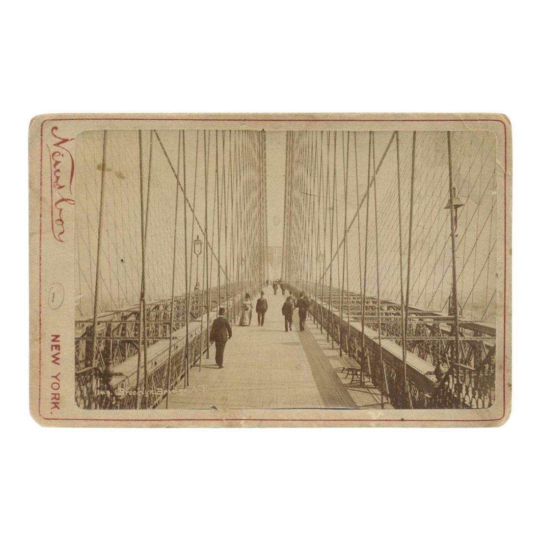Brooklyn Bridge Pedestrians Card Photograph, 1880