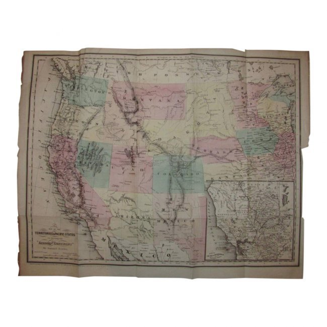 Antique US Map of Territories & Pacific States, 1865