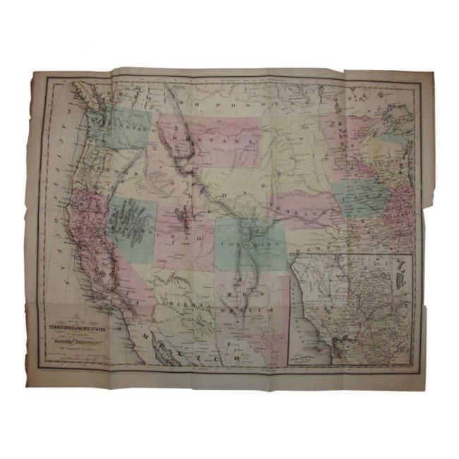 Antique US Map of Territories & Pacific States, 1865