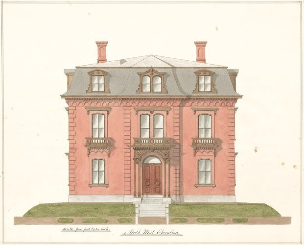 Elevation of House on Broadway, 1860