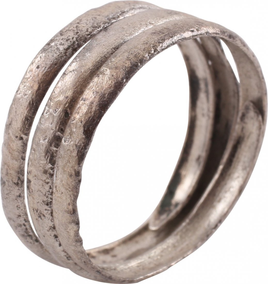 Silvered Bronze Viking Coil Ring, 9th-10th C - 3