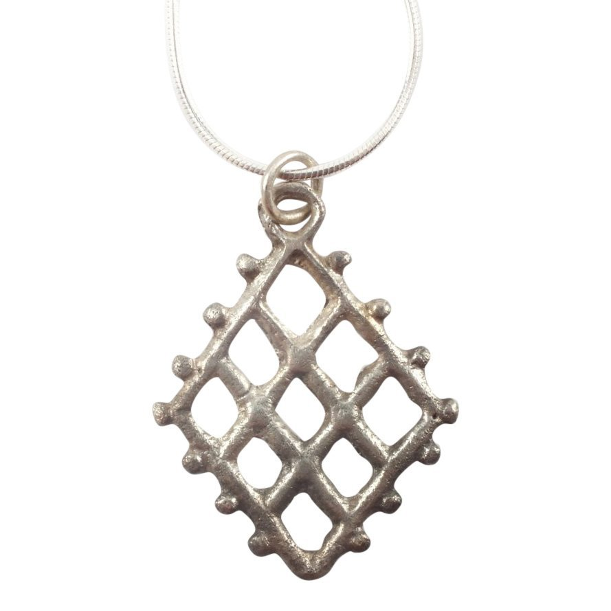 Silvered Bronze Viking Lattice Pendant, 850-1050 A.D.