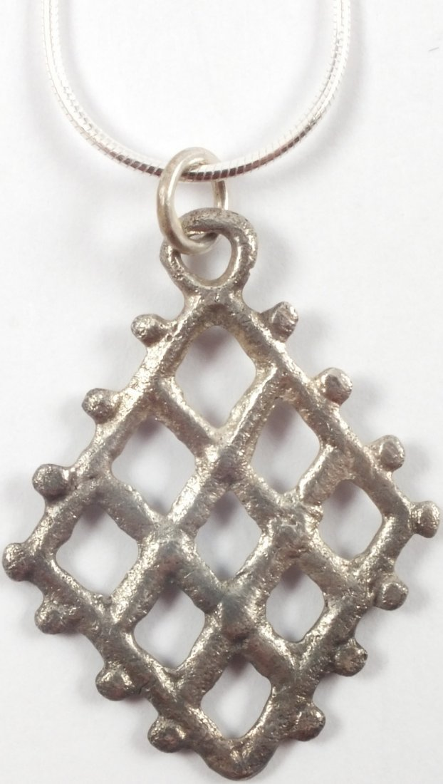 Silvered Bronze Viking Lattice Pendant, 850-1050 A.D. - 2