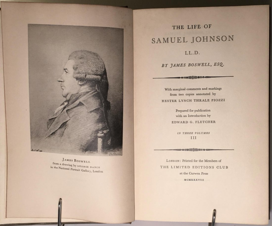 The Life of Samuel Johnson, 1938 - 3 vols - 4