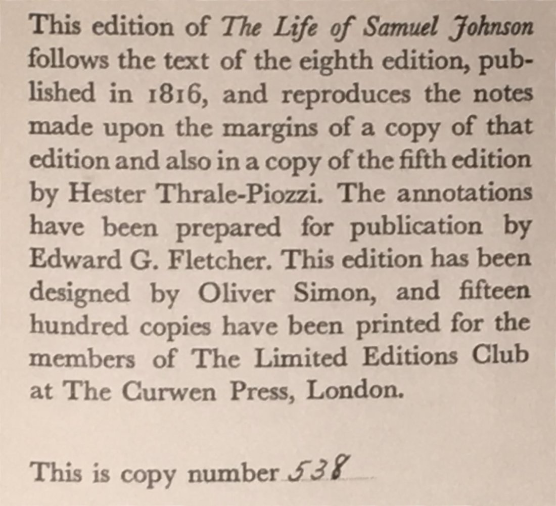 The Life of Samuel Johnson, 1938 - 3 vols - 5