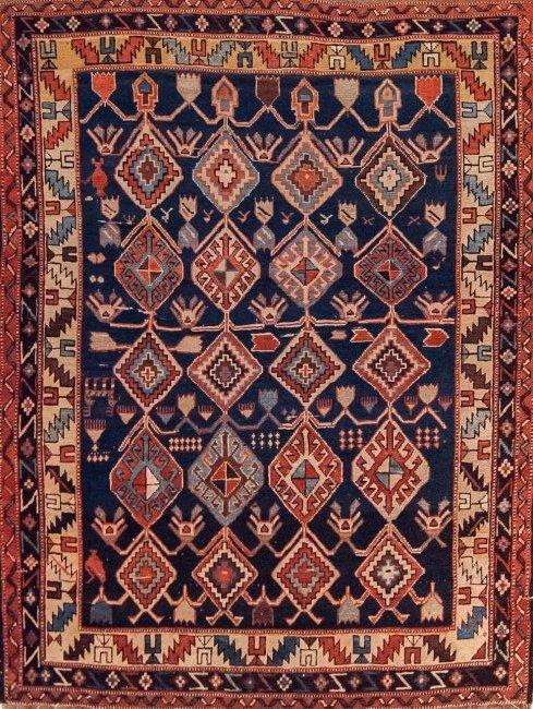 Antique Shirvan Caucasian Wool Rug, 4x4