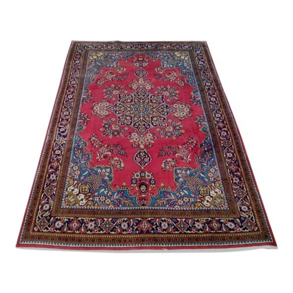 Semi-Antique Open Field Persian Tabriz Rug, 7x11
