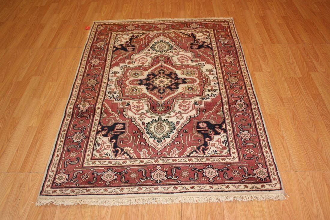 Rare Colored Wool Serapi Area Rug, 4x6 - 2