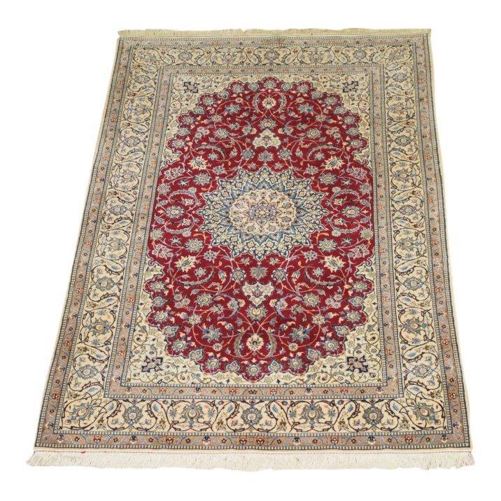Persian Naen Wool and Silk Rug, 4x7