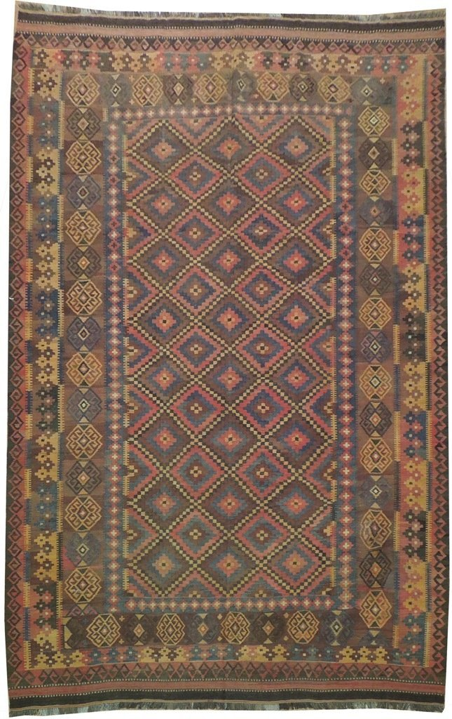 Antique Flat Weave Wool Kilim Rug, 7x12