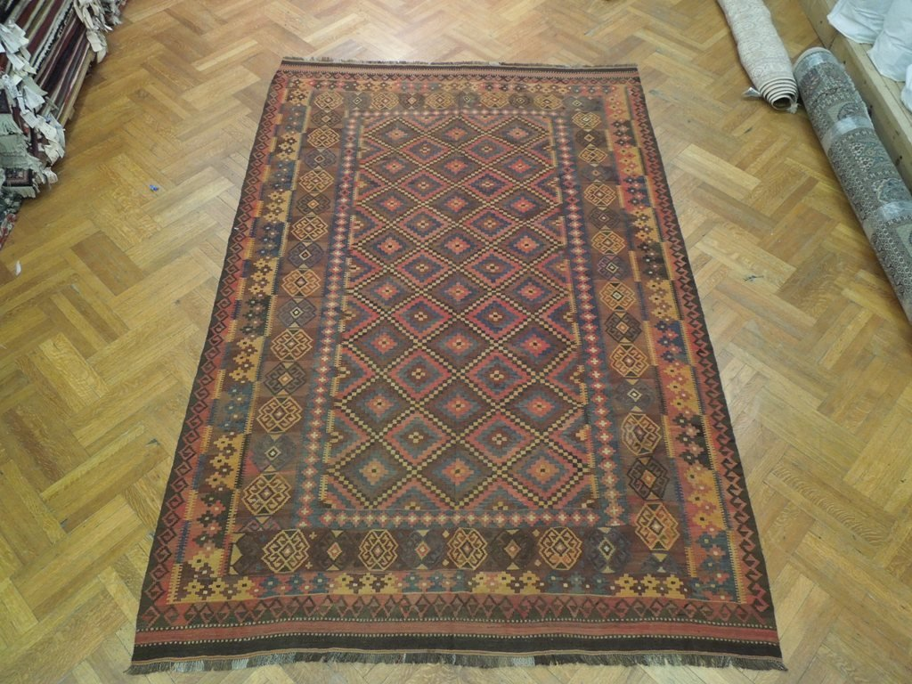 Antique Flat Weave Wool Kilim Rug, 7x12 - 2
