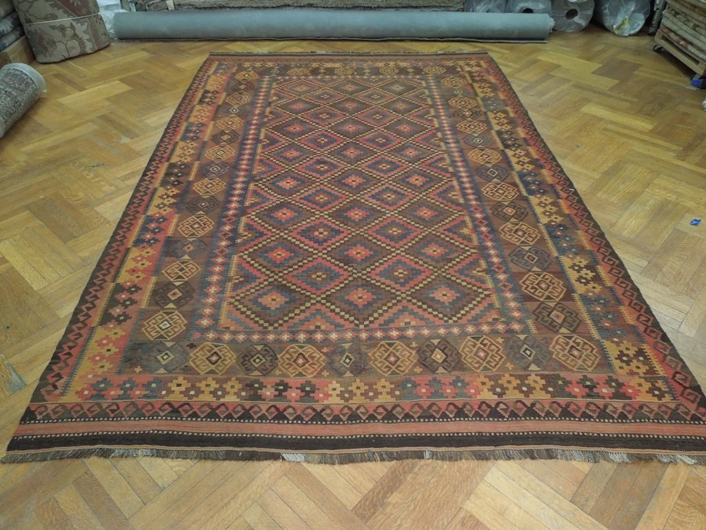 Antique Flat Weave Wool Kilim Rug, 7x12 - 3