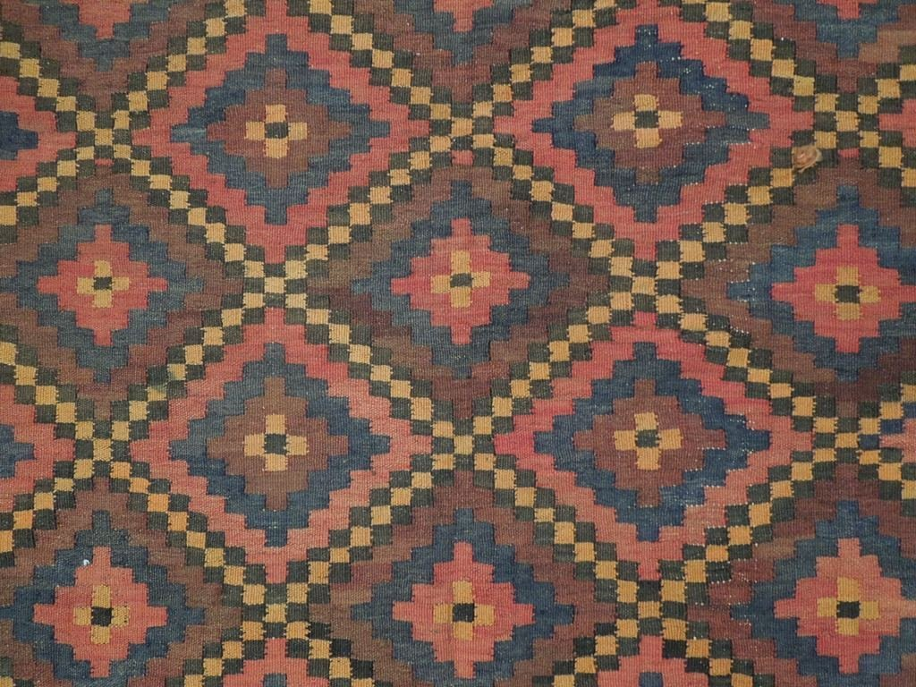 Antique Flat Weave Wool Kilim Rug, 7x12 - 4