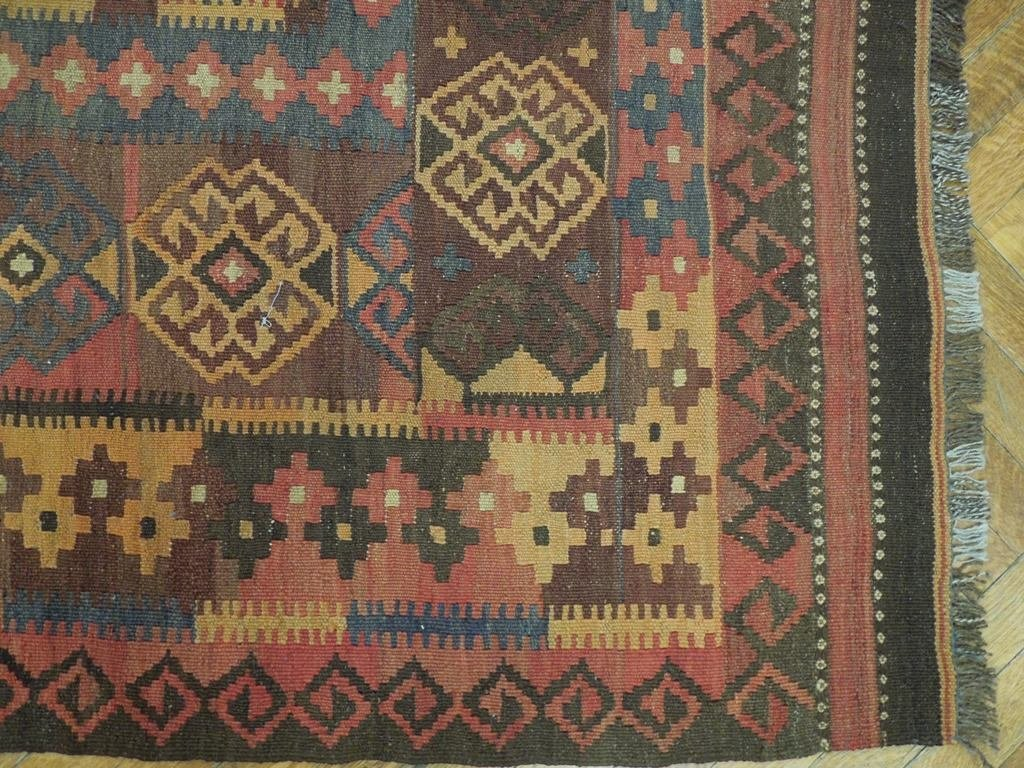 Antique Flat Weave Wool Kilim Rug, 7x12 - 5