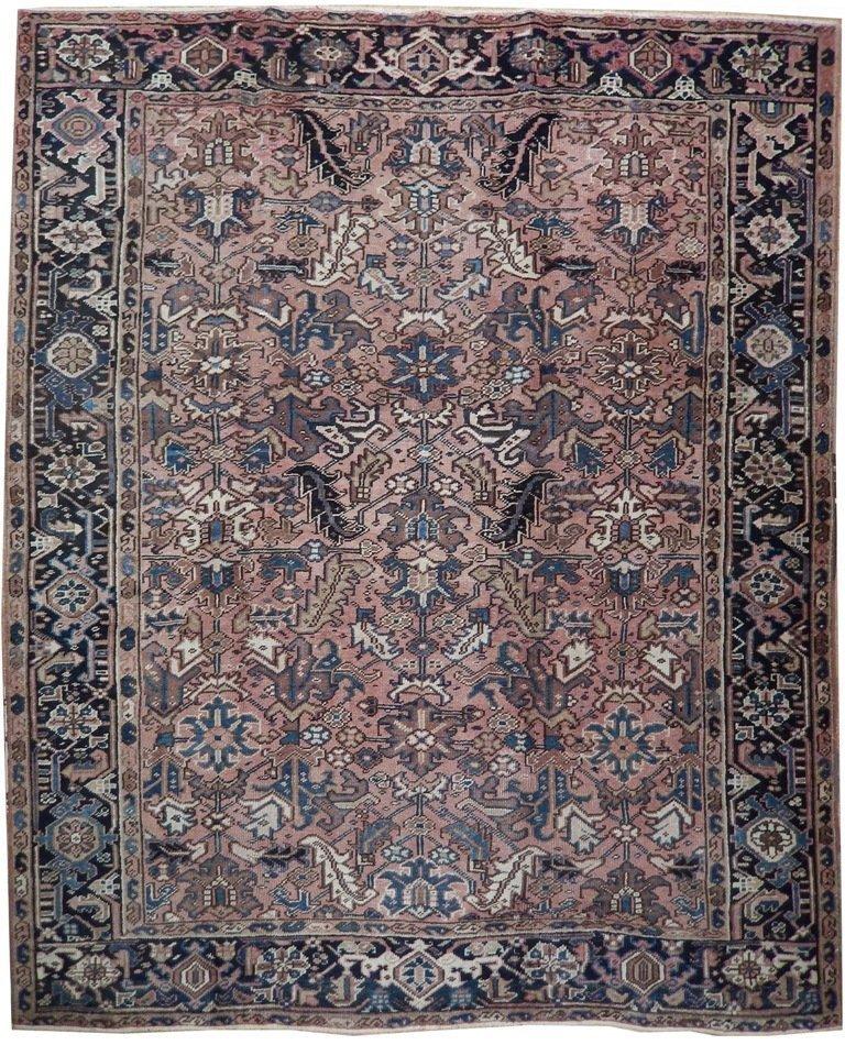 Antique Wool Persian Heriz Rug, 7x8