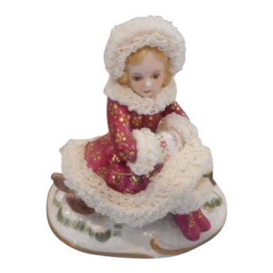 Irish Dresden Figurine: Winter Ireland Girl with Coat
