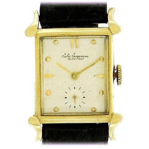 Jules Jurgensen 14K Gold Tank Wristwatch, 1940's