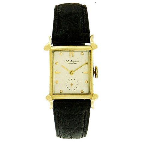 Jules Jurgensen 14K Gold Tank Wristwatch, 1940's - 2