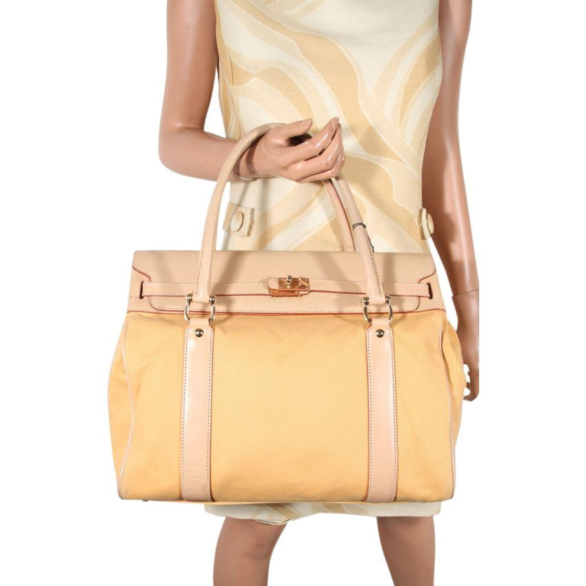 Yellow Beige Leather Canvas Tote