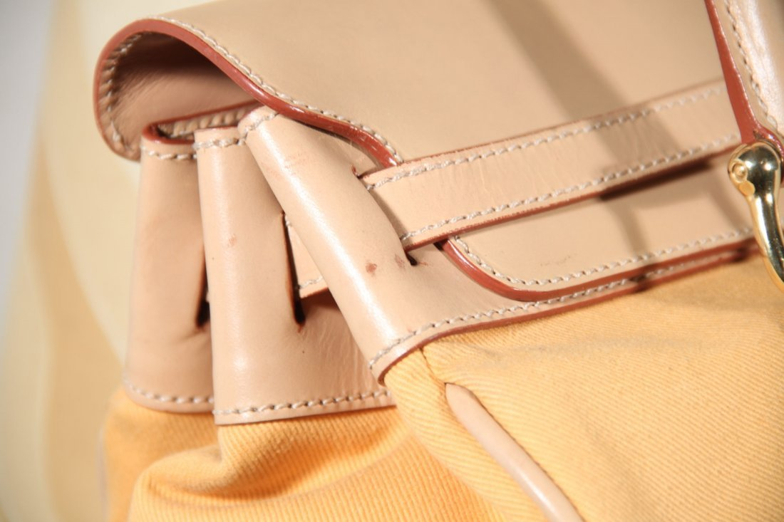 Yellow Beige Leather Canvas Tote - 2