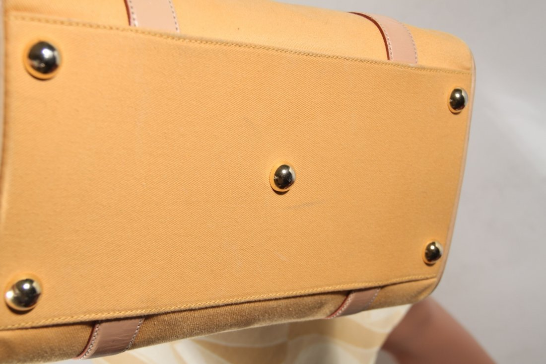 Yellow Beige Leather Canvas Tote - 4