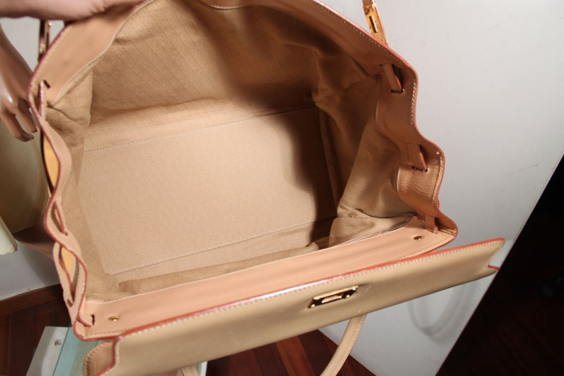Yellow Beige Leather Canvas Tote - 5