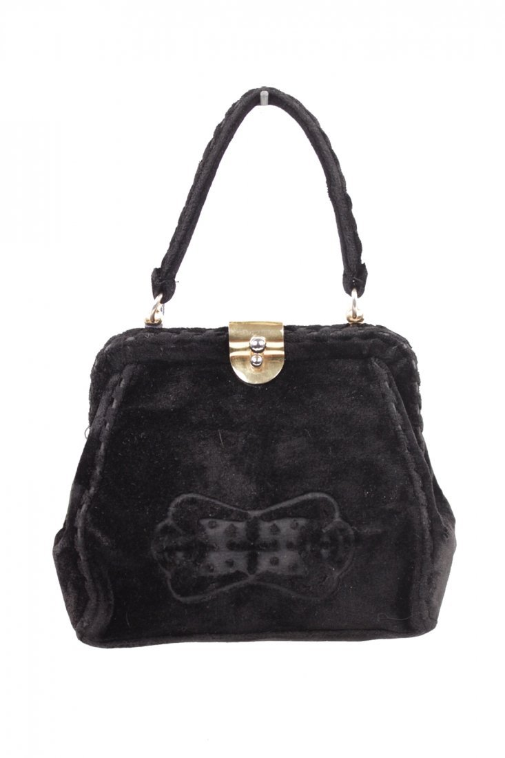Cesare Piccini Vintage Black Velvet Frame Bag