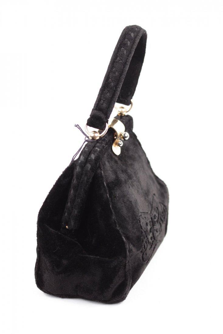 Cesare Piccini Vintage Black Velvet Frame Bag - 3