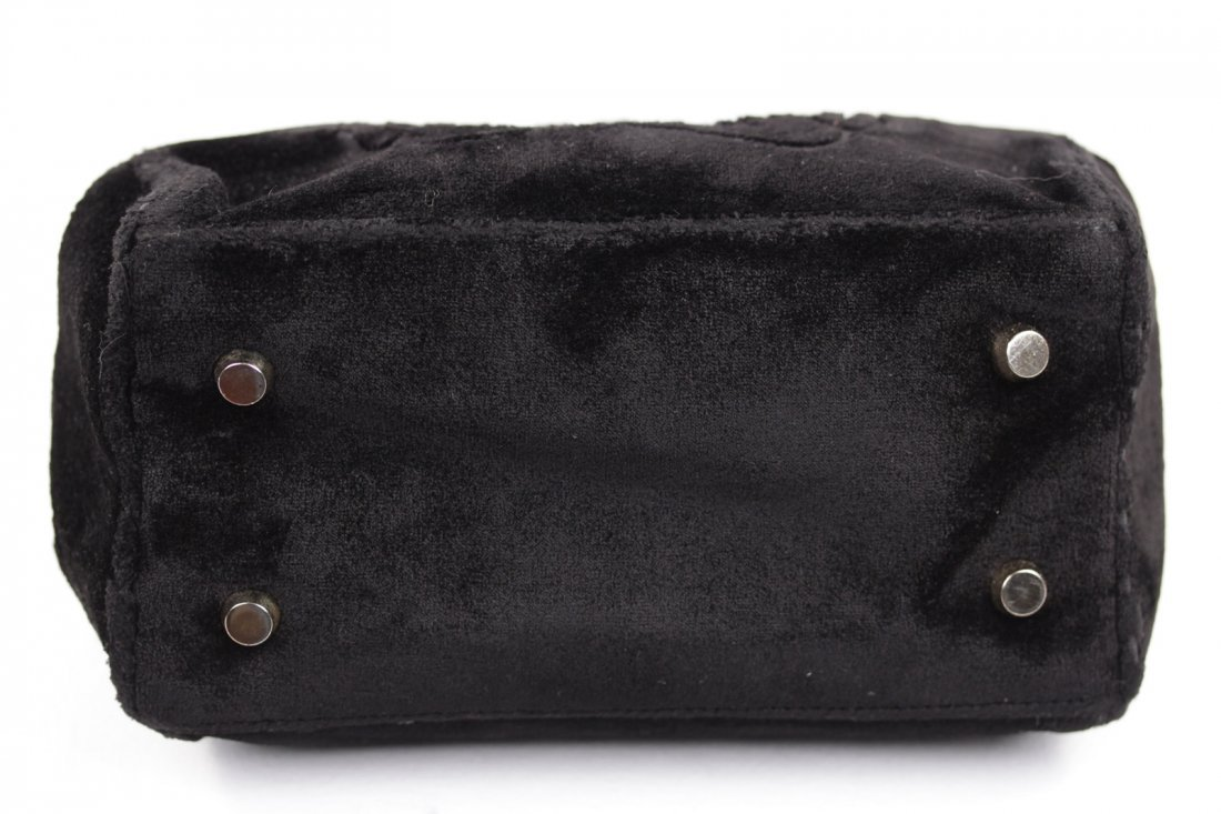 Cesare Piccini Vintage Black Velvet Frame Bag - 4