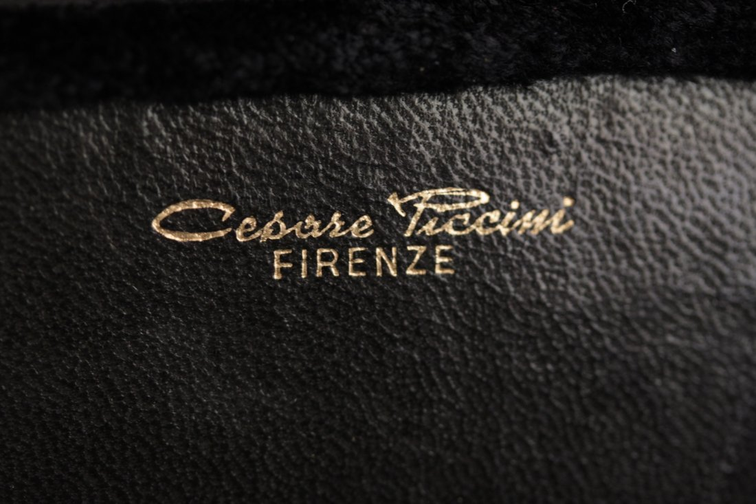 Cesare Piccini Vintage Black Velvet Frame Bag - 5