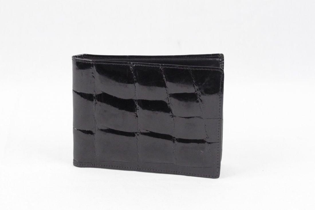 Vintage Black Crocodile Skin Bifold Wallet - 2