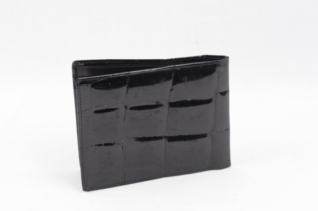 Vintage Black Crocodile Skin Bifold Wallet - 3