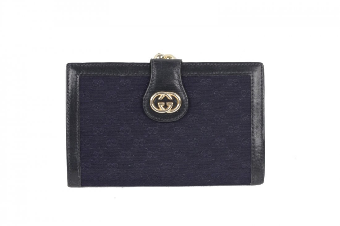 Gucci Vintage Navy Monogram Wallet