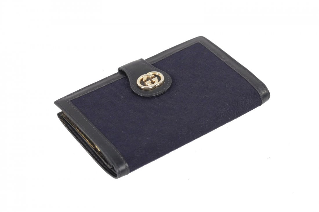 Gucci Vintage Navy Monogram Wallet - 2