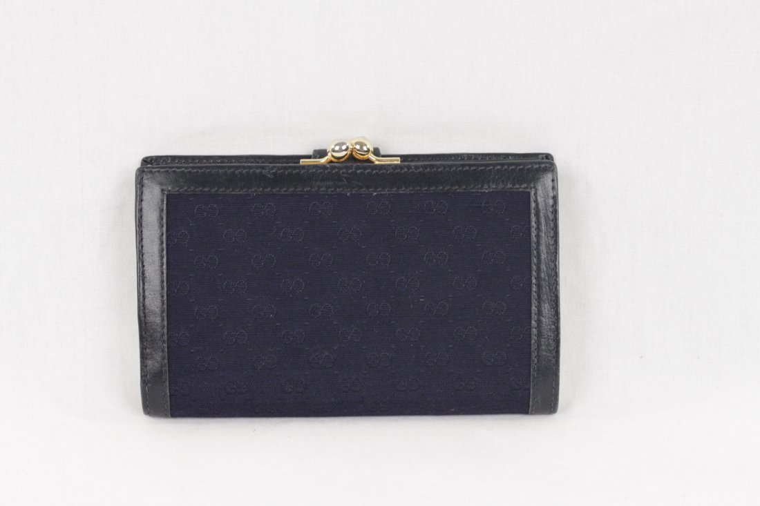 Gucci Vintage Navy Monogram Wallet - 3