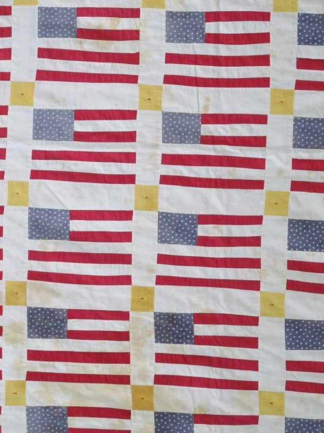 20th C Graphic Flags Quilt - 2