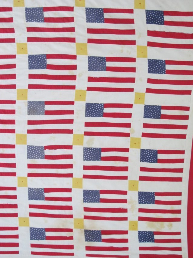20th C Graphic Flags Quilt - 3