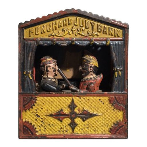 19th C Punch and Judy Mechanical Bank
