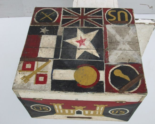 WWII Painted Flag Insignia Box - 2