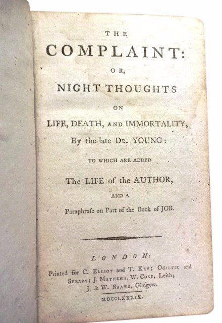 Life, Death, & Immorality by Dr. Young, 1789