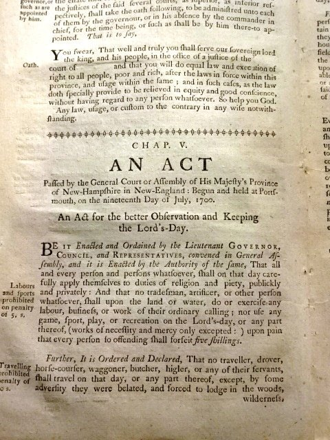1771 Colonial Acts Observance of Lord's-Day & Adultery