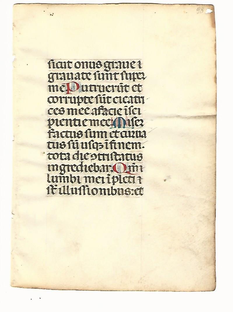 14th C Illuminated Manuscript Leaf on Vellum