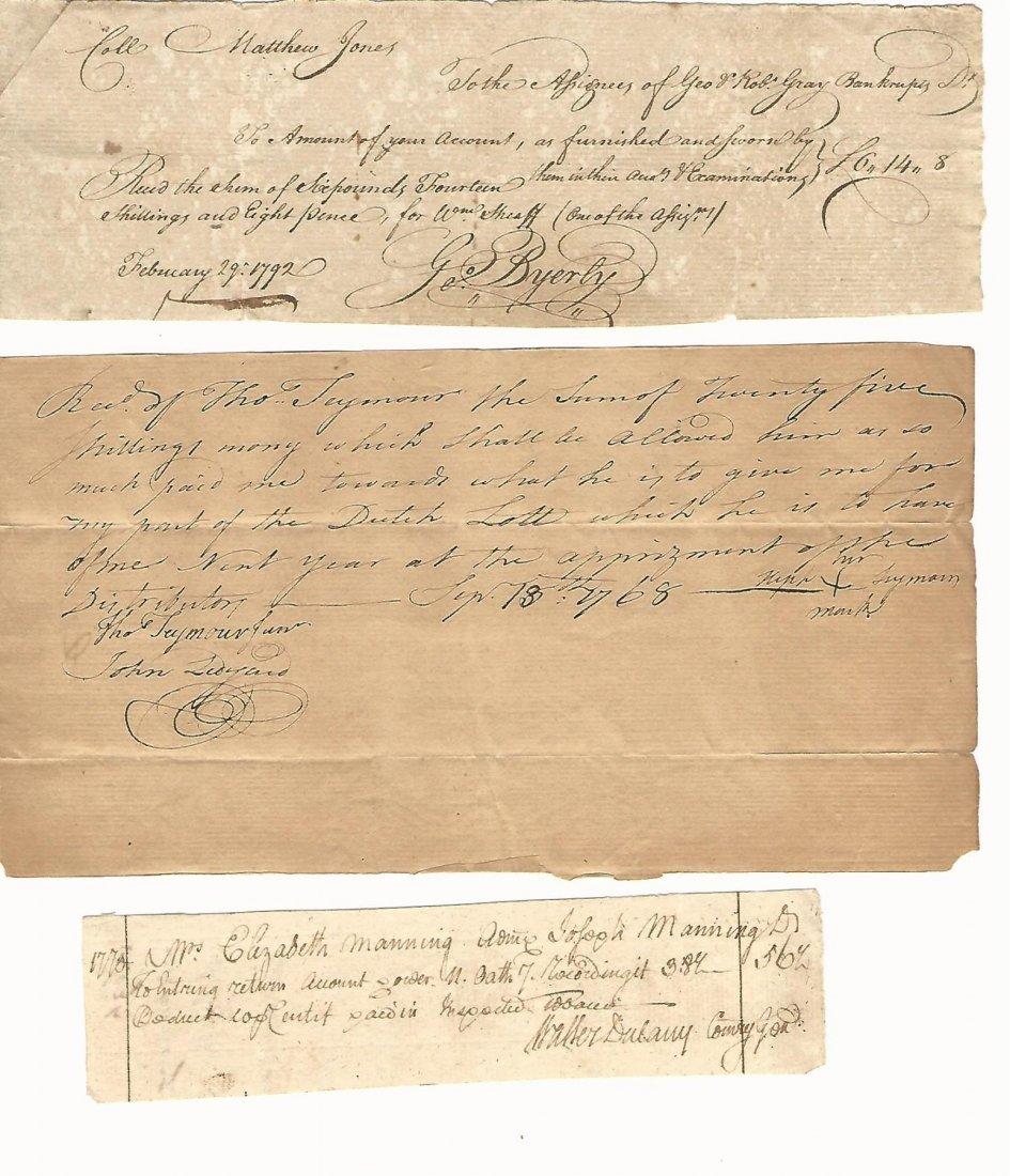 1768 Manuscript Colonial Receipts Signed John Ledyard
